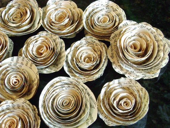 "2""-2.25"" vintage book page, sheet  music, maps recycled paper flowers spiral roses for bouquets, scrapbooks, cards,decorations"
