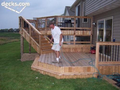 67 best patio ideas images on pinterest backyard ideas for Multi level deck design