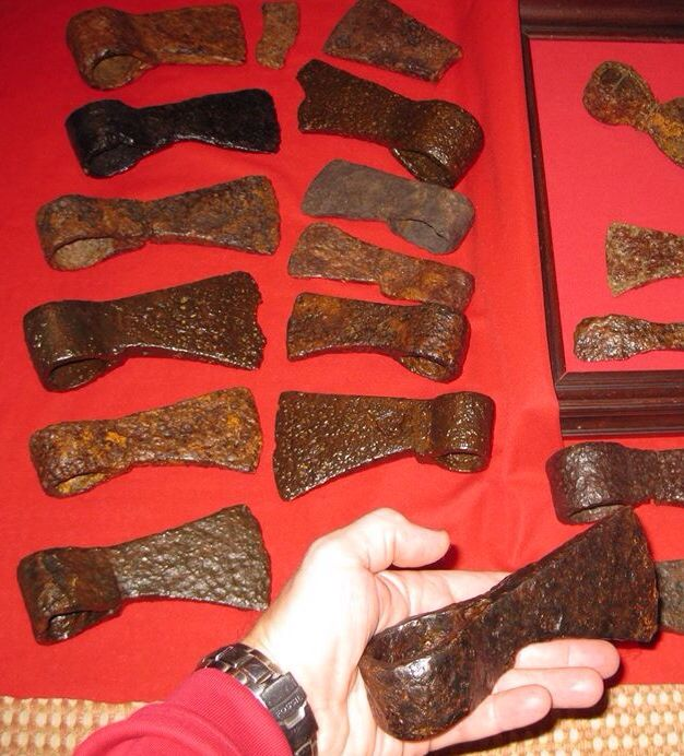 Shawnee Indian forged iron trade axes, 1770s to 1790s, Mad River drainage, Ohio. Collection of Greg Shipley. *trade goods fur trade trade silver Native American Indian artifacts historic ax axe tool French & Indian War Spanish Colonial*