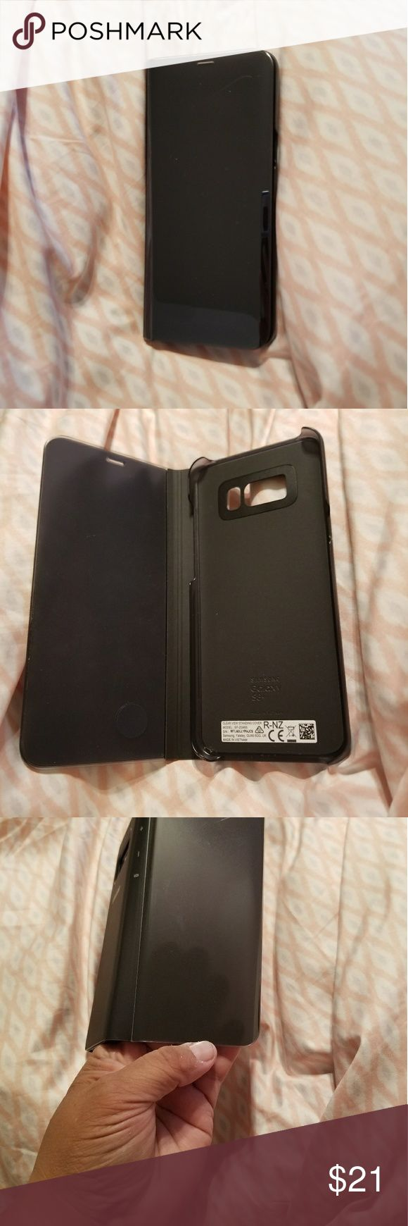 PROTECTIVE SAMSUNG 8+ PHONE CASE Samsung 8+ black phone case in good condition,  front cover closes can see through to see who calling and touch screen used a week  paid 40  No broken corners Samsung Accessories Phone Cases