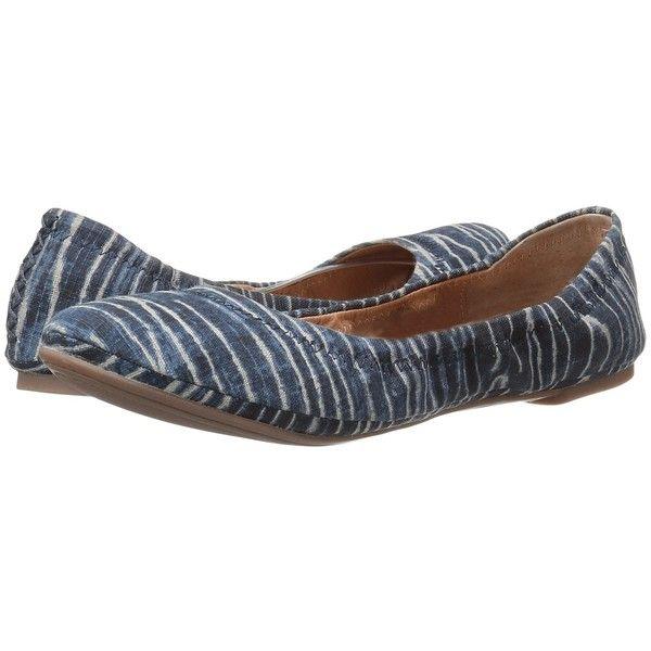 Lucky Brand Emmie (Dark Denim) Women's Flat Shoes ($59) ❤ liked on