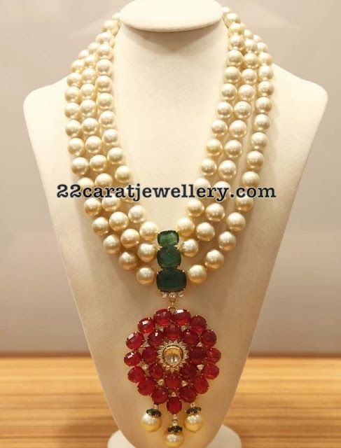 South Sea Pearls Set with Ruby Pendant - Jewellery Designs