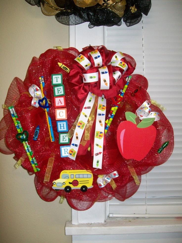teacher deco mesh wreath via Etsy.
