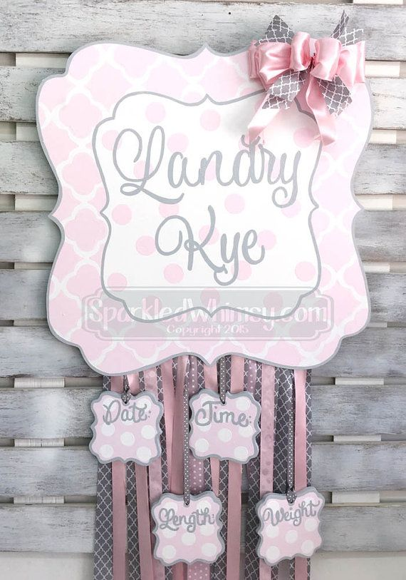 Birth Announcement Hair Bow Holder Door Hanger by SparkledWhimsy