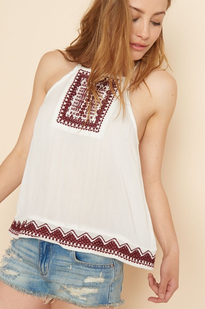 Embroidered Cross Back Cami