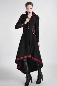 Langer schwarzer Mantel im Uniform Vokuhila Look