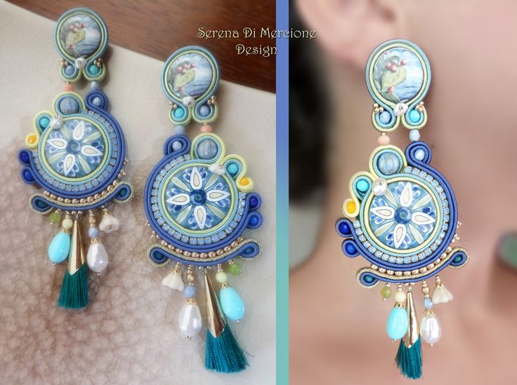 """""""I siciliani"""" collection; Soutache Earrings by Serena Di Mercione. --- maiolica - sicilia -"""