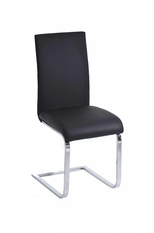 """""""Onze eetkamerstoel Rowena belichaamt een groot deel van het comfort - zijn rug gaat direct over in het onderstel. Het onderstel is gemaakt van chroom en iets naar voren gebogen om de stoel licht naar beneden te buigen.  De stoelbekleding is evenals bekleed met kunstleer en fungeert als een optisch geplaatst comfortabel kussen. De eetkamerstoel Rowena is te verkrijgen in de kleuren wit, zwart en bruin""""…"""