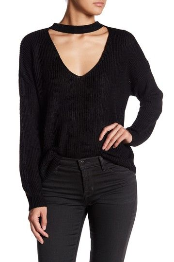 Image of Poof Deep V-Neck Choker Style Sweater