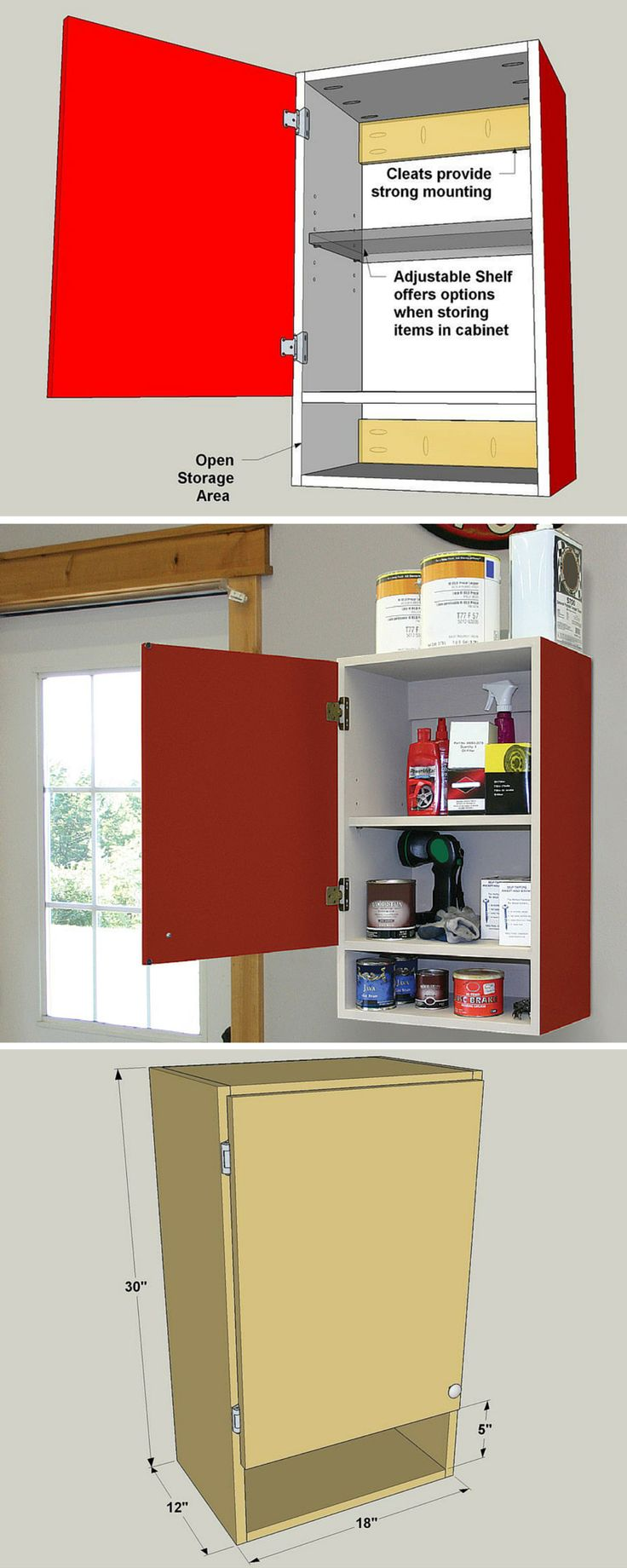 Keep your tools and supplies close at hand with this easy-to-build wall cabinet. It offers plenty of enclosed space to conceal clutter, and an adjustable shelf for customizable storage. FREE PLANS at buildsomething.com