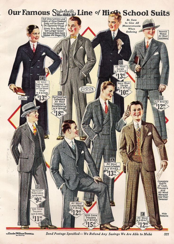 This is most likely from a magazine for a store showing 1920s teenager young men boys clothing suits which all include either a tie or a bow tie with a pop of color in each suit.