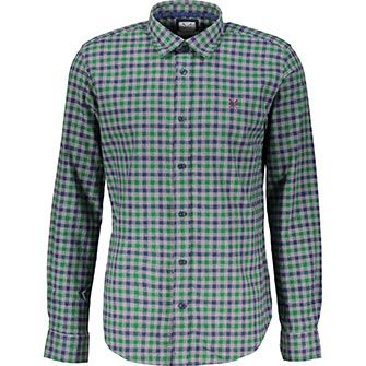 Blue & Green Checked Tailored Fit Shirt