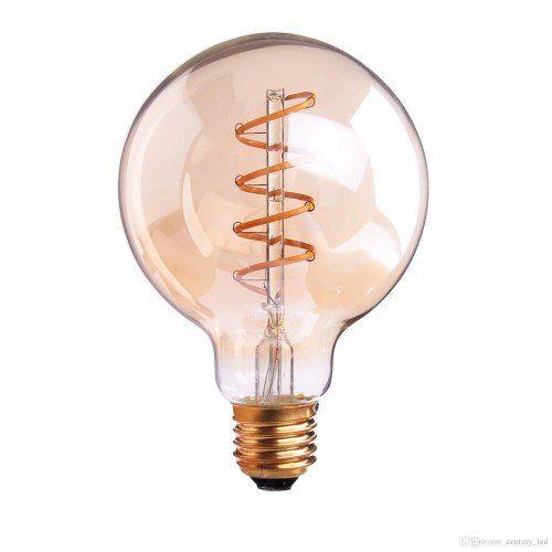 LED lámpa , égő , izzószálas hatás , gömb , E27 foglalat , G125 , 6 Watt , meleg fehér , borostyán sárga , vintage , dimmelhető