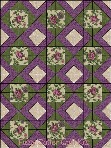 Purple Pink Roses Shabby Chic Floral Flowers Fabric Easy Pre-Cut Quilt Blocks Top Kit Quilting Squares Material