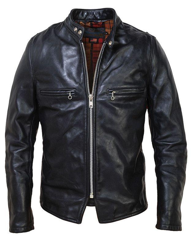 Men's Vintaged Steerhide Leather Cafe Racer Motorcycle Jacket CAF1 Schott