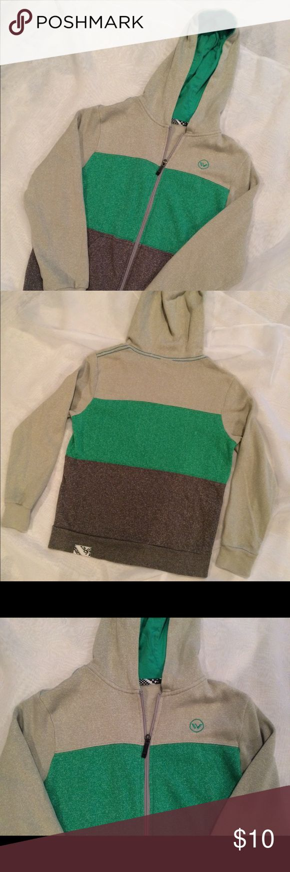 Boys Shawn White zip up sweat jacket.  Size 8. Light green and brown zip up jacket.  Really, really soft!  There is no tag on the size, we had cut it out but is a size 8 in boys.  In great condition!  60% cotton, 40% polyester. shawn white Shirts & Tops Sweatshirts & Hoodies