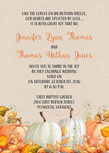 Fall Pumpkin Wedding Invitation More
