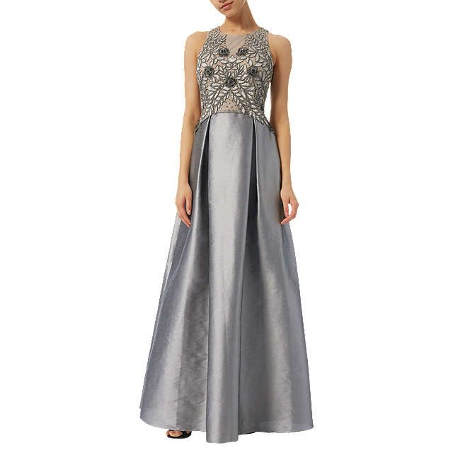 Adrianna Papell Iridescent Bead Gown, Dove Grey | Beaded