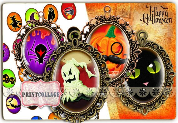 Check out Digital Printable Sheets Happy Halloween 40x30 30x22 25x18 18x13mm Cabochon oval images Clip Art for pendants Instant download images C121 on printcollage