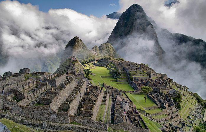 Clouds loom over Machu Picchu.