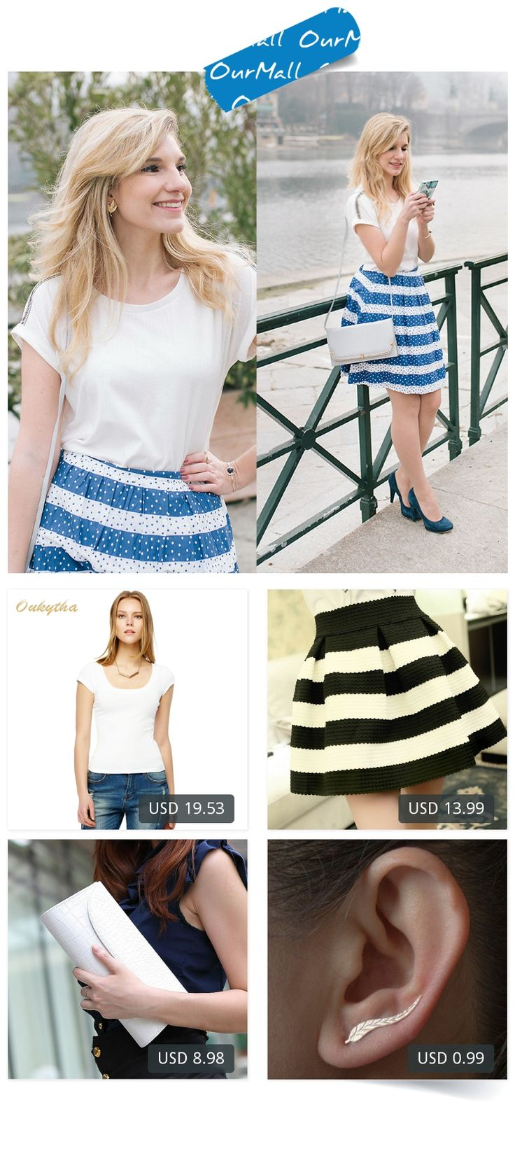 This is Cristina Siccardi's buyer show in OurMall;  1.Sexy low-cut summer short-sleeved t-shirt female Korean Slim was thin tight white 2.And White Striped Skirts Was Thin Waist Big Tutu Sun 3.Leather Clutch Evening Bag Chain Banquet Bag Handbag Diagonal White Women 4.Jewelry Exqu... please click the picture for detail. http://ourmall.com/?iaUneq
