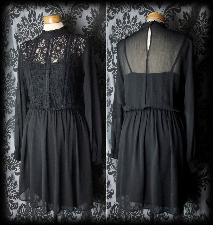 Goth Black Lace HEARTBROKEN High Neck Tea Dress 10 12 Victorian Romantic Vintage - £36.00