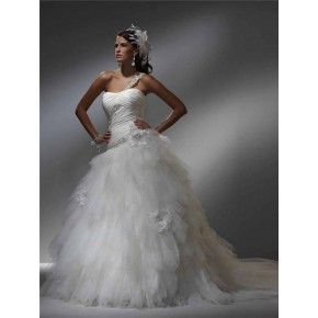 Size 6 to 20 Ball One Shoulder Chapel Train Taffeta & Tulle Bridal Wedding Gown