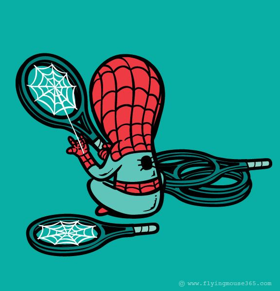 Part Time Jobs for Super Heroes:  Spider-Man at a sports shop.  By Flying Mouse 365.