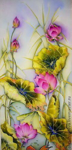"Купить Батик панно "" Лотосы "" - панно, лотосы, цветы, золотые рыбки, Батик"