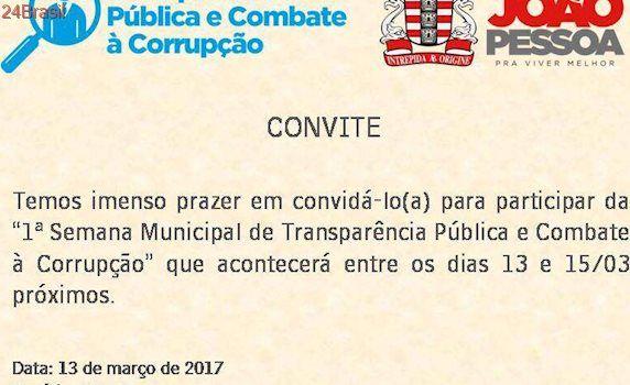 Prefeitura da capital lança semana da transparência e combate à corrupção