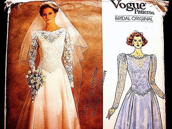 1980s Wedding Dress Pattern Vogue Bridal Gown with Train or Ankle Length and Petticoat Pattern Misses Size 10 UNCUT   ---- pretty