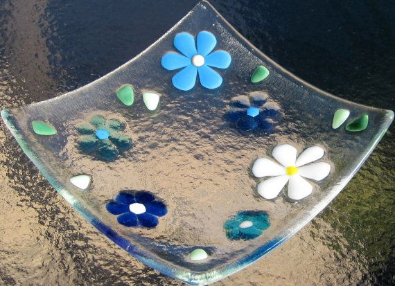 Fused Glass Plate Turquoise Blue and White Flowers by Shakufdesign, $25.00