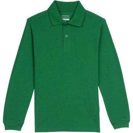 George Boys School Uniforms Long Sleeve Pique Polo Shirt, Size: XS (4/5), Green