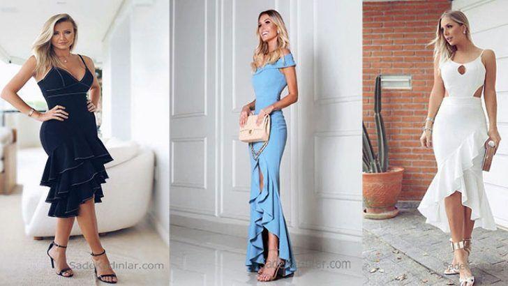 Son Moda Ve Sik Firfirli Elbise Kombinleri Elbise Modelleri Elbiseler Elbise
