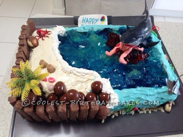 Cake Decorating Ideas Shark : Awesome Hungry Shark Birthday Cake Milk, Cake ideas and ...