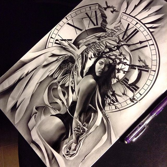Finished up this angel time piece for a half sleeve I'll be working on, going to add the inner bicep on another sheet of paper. @haleyjade__  #tattoospooky #angel #time #timepiece #art #artcollective #artsanity #artnerd #sketch_daily #proartists #pencil #graphite #worldofartists #worldofpencils #portrait #realism #create #clock #clocktattoo