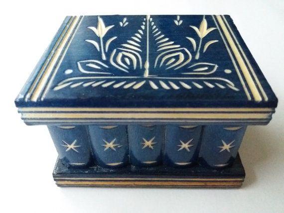 Magia segreta in legno blu fatto a mano carina nuova puzzle giocattolo, caso di legno intagliati a mano, box guidata mystey anello porta gioielli, scatola a sorpresa, regalo