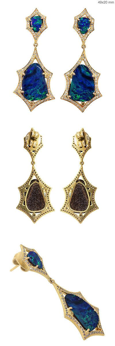 Earrings 52599: Solid 18K Yellow Gold Opal Gemstone Dangle Earrings Pave Natural Diamond Jewelry -> BUY IT NOW ONLY: $967.2 on eBay!