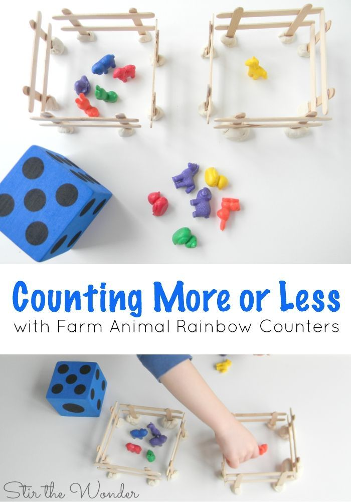 Counting More or Less with Farm Animal Rainbow Counters
