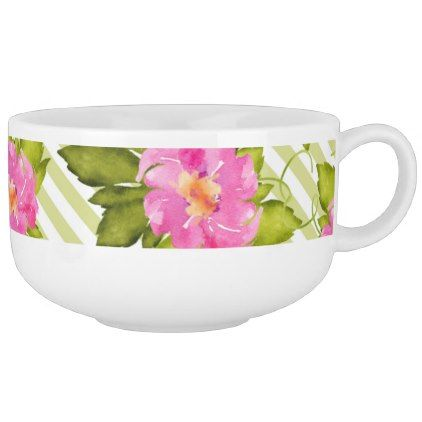 Tropical Flower Green Stripes Soup Mug - floral style flower flowers stylish diy personalize