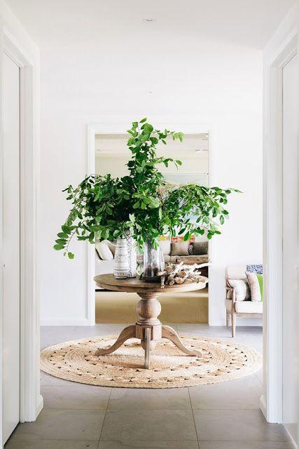 foyer; natural rug