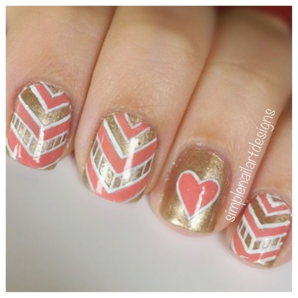 Chevron and heart simple nail art design