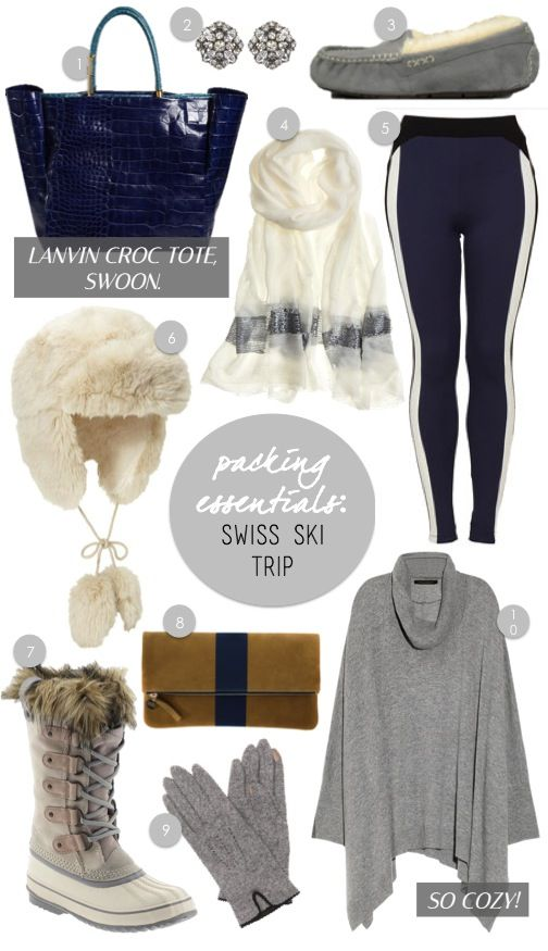 1) Lanvin croc tote 2) Ben-amun deco studs 3) Ugg Ansley slippers (have these, love them!) 4) East Cloud sequin border scarf 5) Topshop leggings 6) Gap fur trapper hat 7) Sorel Joan of Arctic boots 8) Clare Vivier clutch 9) Ralph Lauren gloves 10) Donna Karan sweater Even though I'm not a skier, I've …