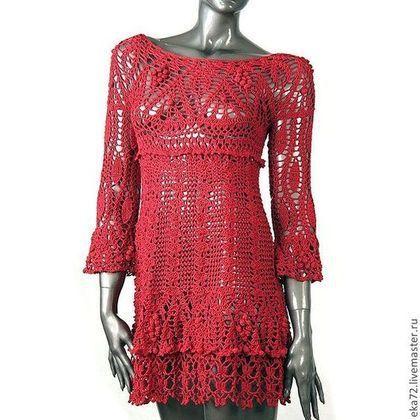 Купить или заказать Платье вязаное в интернет-магазине на Ярмарке Мастеров. Стильное яркое платье . Силуэт трапеция. Ажурный фактурый узор. Сильный, насыщенный яркий цвет с лёгким блеском.