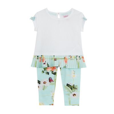 Baker by Ted Baker Baby girls' white and green top and floral print leggings set | Debenhams