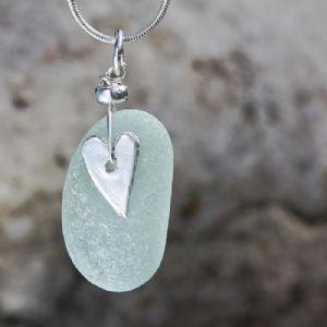 Sea Blue Beach Glass Pendant | Sea Glass | Glass Jewellery