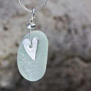 Sea Blue Beach Glass Pendant | Sea Glass | Glass Jewellery