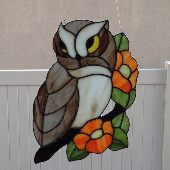 Stained Glass Owl With Flower Branch Suncatcher by FoxStainedGlass