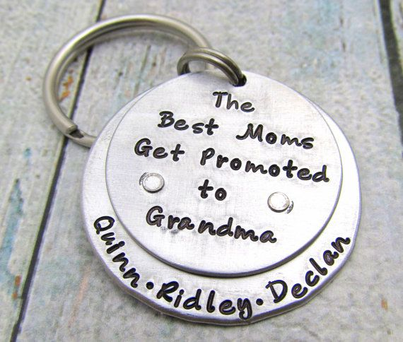 Personalized Keychain - Grandma Keychain - Mom Keychain - Hand Stamped Key Chain Best Moms Get Promoted to Grandmas - Mother's Day Gift