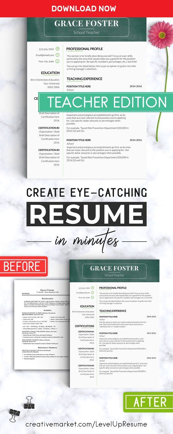 Teacher Resume Template  Teacher Cv By Levelupresume On